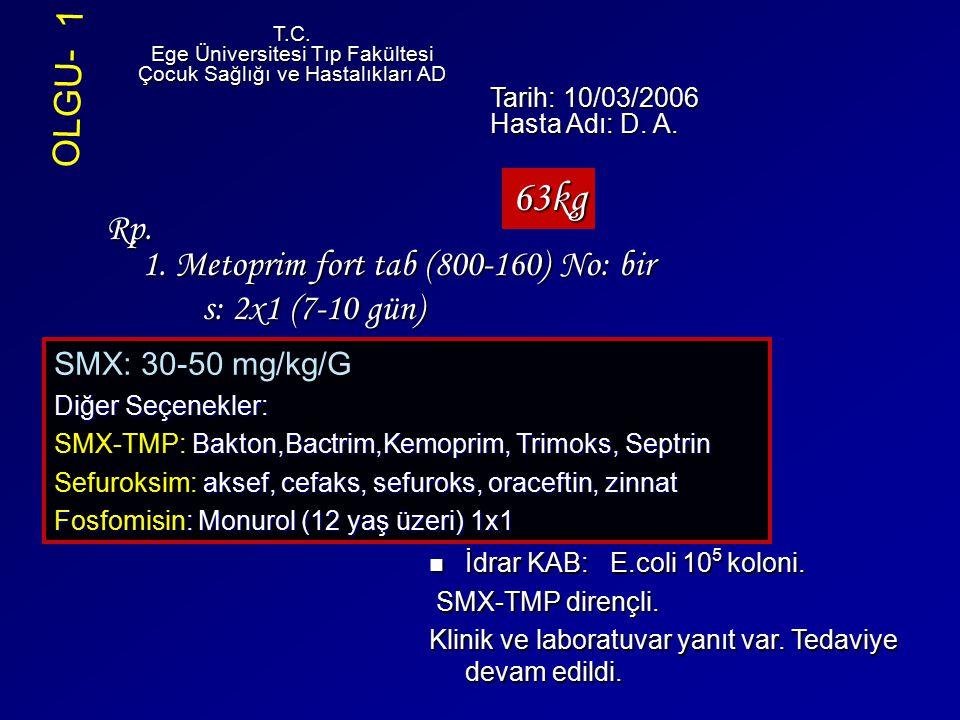 Rp. 1. Metoprim fort tab (800-160) No: bir s: 2x1 (7-10 gün) T.C. Ege Üniversitesi Tıp Fakültesi Çocuk Sağlığı ve Hastalıkları AD Tarih: 10/03/2006 Ha