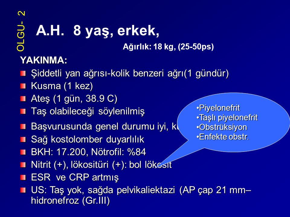 YAKINMA: Şiddetli yan ağrısı-kolik benzeri ağrı(1 gündür) Kusma (1 kez) Ateş (1 gün, 38.9 C) Taş olabileceği söylenilmiş OLGU- 2 A.H. 8 yaş, erkek, Ağ