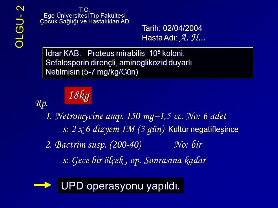Rp. 1. Netromycine amp. 150 mg=1,5 cc. No: 6 adet s: 2 x 6 dizyem IM (3 gün) Kültür negatifleşince 2. Bactrim susp. (200-40) No: bir s: Gece bir ölçek