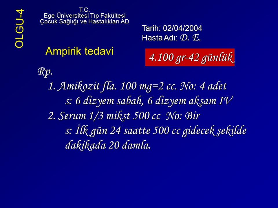 Rp. 1. Amikozit fla. 100 mg=2 cc. No: 4 adet s: 6 dizyem sabah, 6 dizyem akşam IV 2. Serum 1/3 mikst 500 cc No: Bir s: İlk gün 24 saatte 500 cc gidece