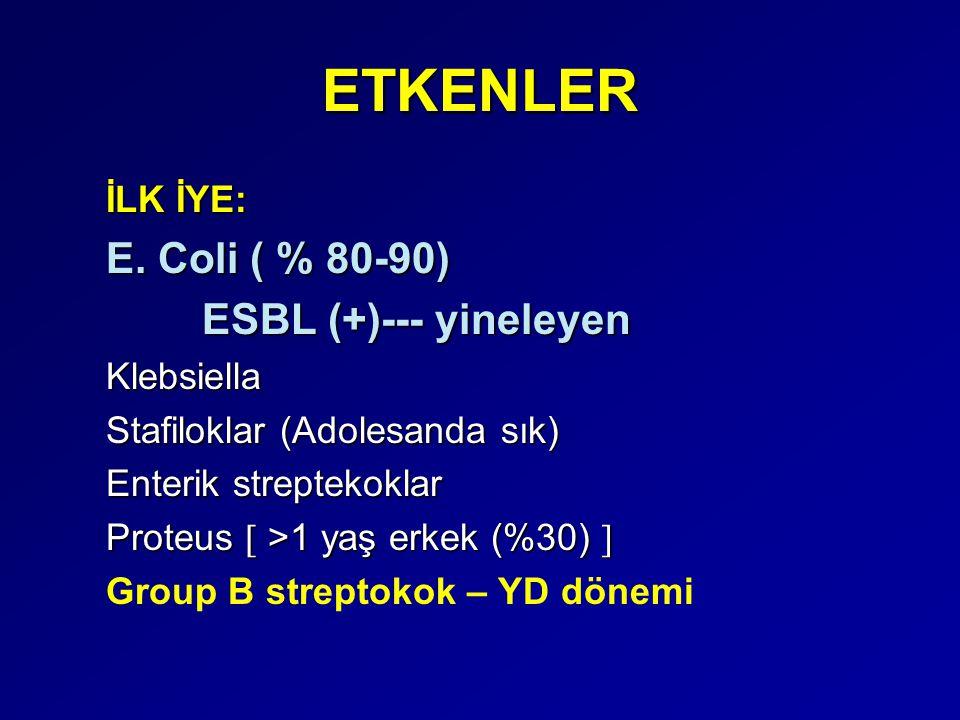 ETKENLER İLK İYE: E. Coli ( % 80-90) ESBL (+)--- yineleyen Klebsiella Stafiloklar (Adolesanda sık) Enterik streptekoklar Proteus  >1 yaş erkek (%30)