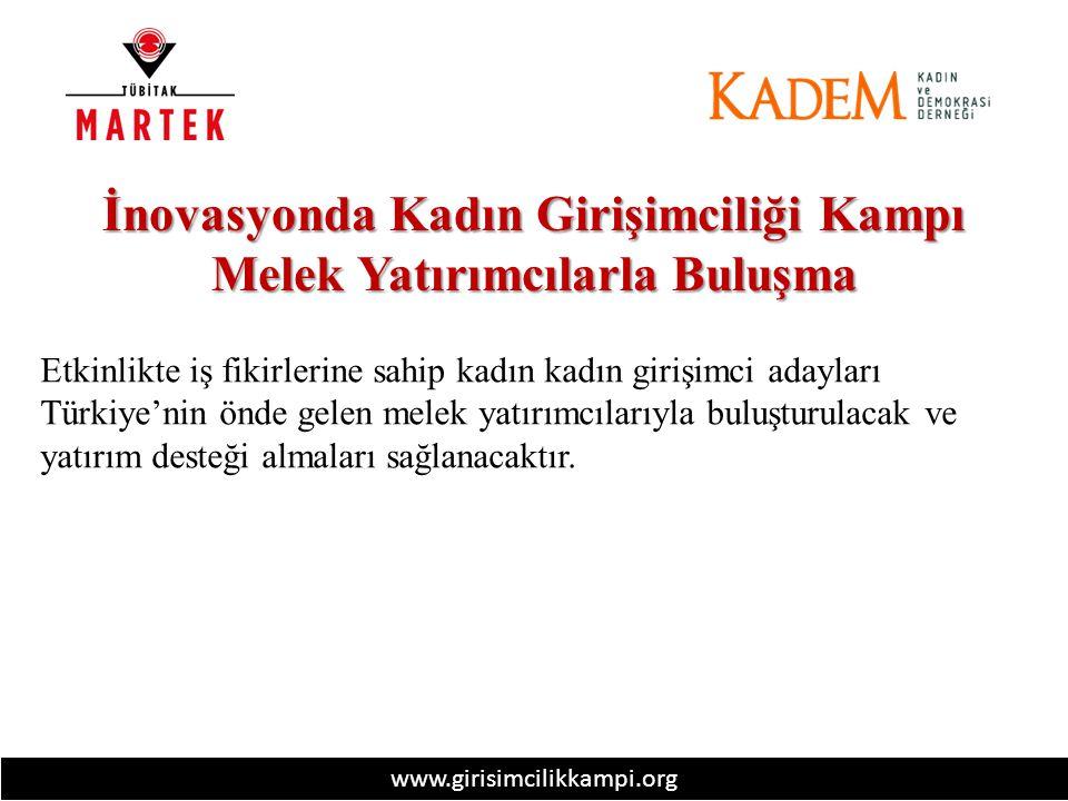 www.girisimcilikkampi.org İnovasyonda Kadın Girişimciliği Kampı Melek Yatırımcılarla Buluşma Etkinlikte iş fikirlerine sahip kadın kadın girişimci adayları Türkiye'nin önde gelen melek yatırımcılarıyla buluşturulacak ve yatırım desteği almaları sağlanacaktır.