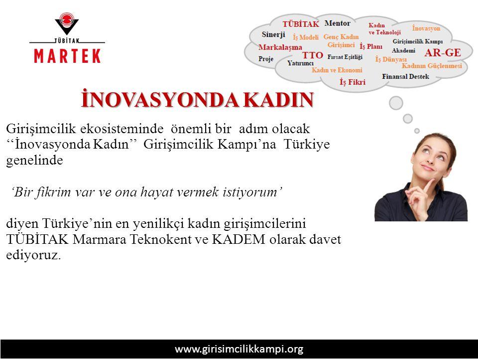 www.girisimcilikkampi.org İNOVASYONDA KADIN Girişimcilik ekosisteminde önemli bir adım olacak ''İnovasyonda Kadın'' Girişimcilik Kampı'na Türkiye genelinde 'Bir fikrim var ve ona hayat vermek istiyorum' diyen Türkiye'nin en yenilikçi kadın girişimcilerini TÜBİTAK Marmara Teknokent ve KADEM olarak davet ediyoruz.