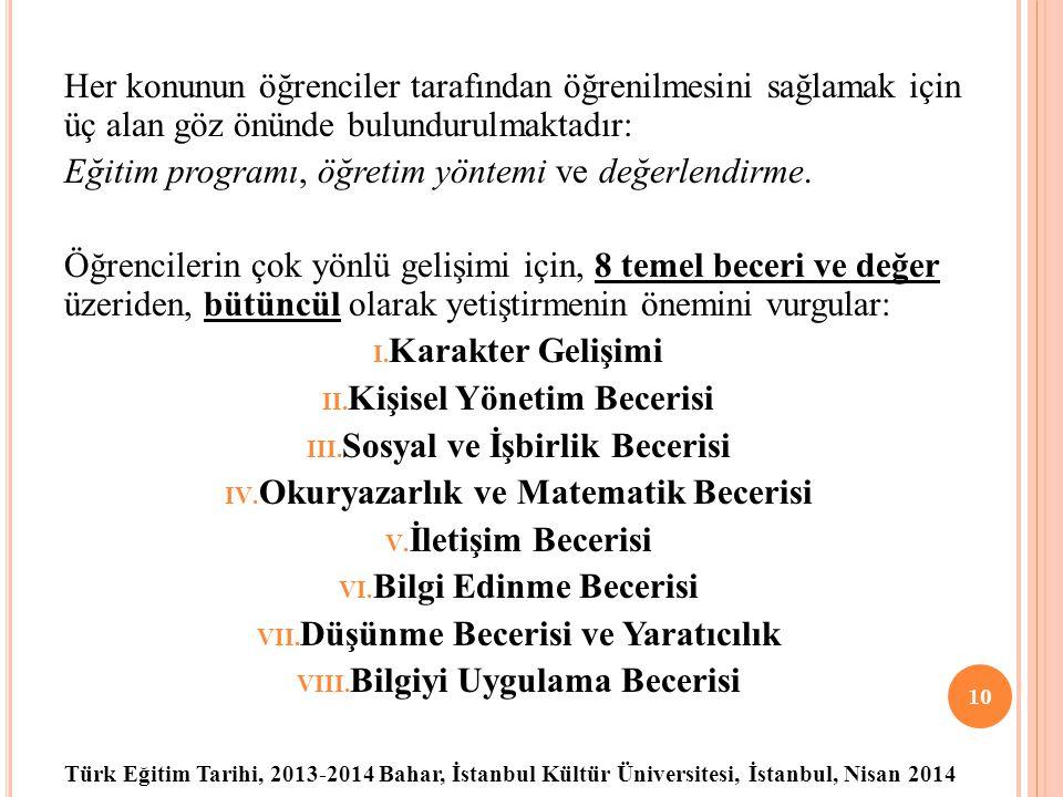 Türk Eğitim Tarihi, 2013-2014 Bahar, İstanbul Kültür Üniversitesi, İstanbul, Nisan 2014 Her konunun öğrenciler tarafından öğrenilmesini sağlamak için üç alan göz önünde bulundurulmaktadır: Eğitim programı, öğretim yöntemi ve değerlendirme.