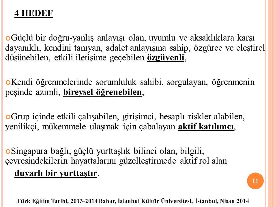 Türk Eğitim Tarihi, 2013-2014 Bahar, İstanbul Kültür Üniversitesi, İstanbul, Nisan 2014 4 HEDEF Güçlü bir doğru-yanlış anlayışı olan, uyumlu ve aksaklıklara karşı dayanıklı, kendini tanıyan, adalet anlayışına sahip, özgürce ve eleştirel düşünebilen, etkili iletişime geçebilen özgüvenli, Kendi öğrenmelerinde sorumluluk sahibi, sorgulayan, öğrenmenin peşinde azimli, bireysel öğrenebilen, Grup içinde etkili çalışabilen, girişimci, hesaplı riskler alabilen, yenilikçi, mükemmele ulaşmak için çabalayan aktif katılımcı, Singapura bağlı, güçlü yurttaşlık bilinci olan, bilgili, çevresindekilerin hayattalarını güzelleştirmede aktif rol alan duyarlı bir yurttaştır.