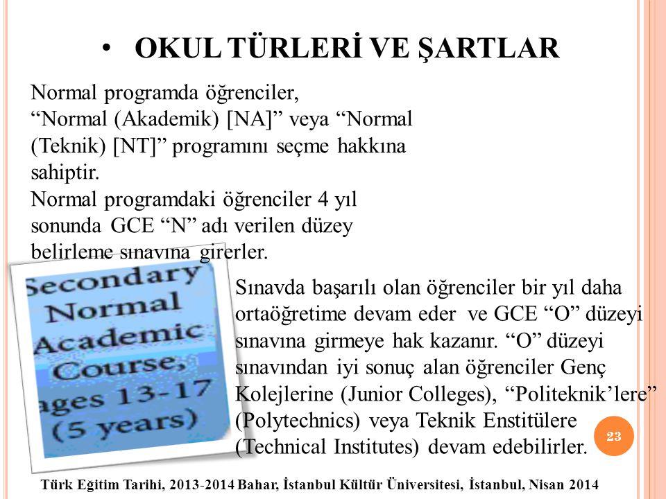 Türk Eğitim Tarihi, 2013-2014 Bahar, İstanbul Kültür Üniversitesi, İstanbul, Nisan 2014 OKUL TÜRLERİ VE ŞARTLAR 23 Normal programda öğrenciler, Normal (Akademik) [NA] veya Normal (Teknik) [NT] programını seçme hakkına sahiptir.