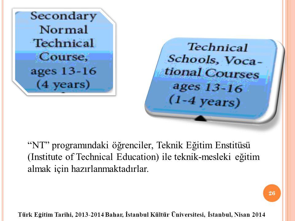 Türk Eğitim Tarihi, 2013-2014 Bahar, İstanbul Kültür Üniversitesi, İstanbul, Nisan 2014 26 NT programındaki öğrenciler, Teknik Eğitim Enstitüsü (Institute of Technical Education) ile teknik-mesleki eğitim almak için hazırlanmaktadırlar.