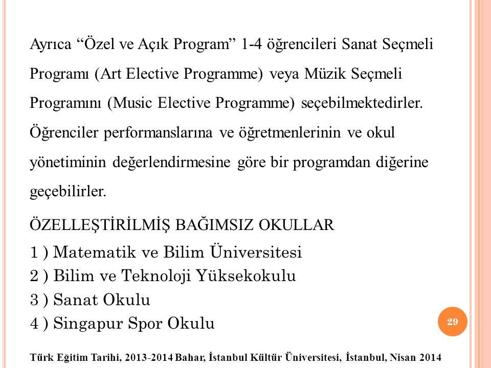 Türk Eğitim Tarihi, 2013-2014 Bahar, İstanbul Kültür Üniversitesi, İstanbul, Nisan 2014 Ayrıca Özel ve Açık Program 1-4 öğrencileri Sanat Seçmeli Programı (Art Elective Programme) veya Müzik Seçmeli Programını (Music Elective Programme) seçebilmektedirler.