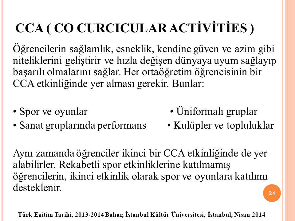 Türk Eğitim Tarihi, 2013-2014 Bahar, İstanbul Kültür Üniversitesi, İstanbul, Nisan 2014 CCA ( CO CURCICULAR ACTİVİTİES ) Öğrencilerin sağlamlık, esneklik, kendine güven ve azim gibi niteliklerini geliştirir ve hızla değişen dünyaya uyum sağlayıp başarılı olmalarını sağlar.
