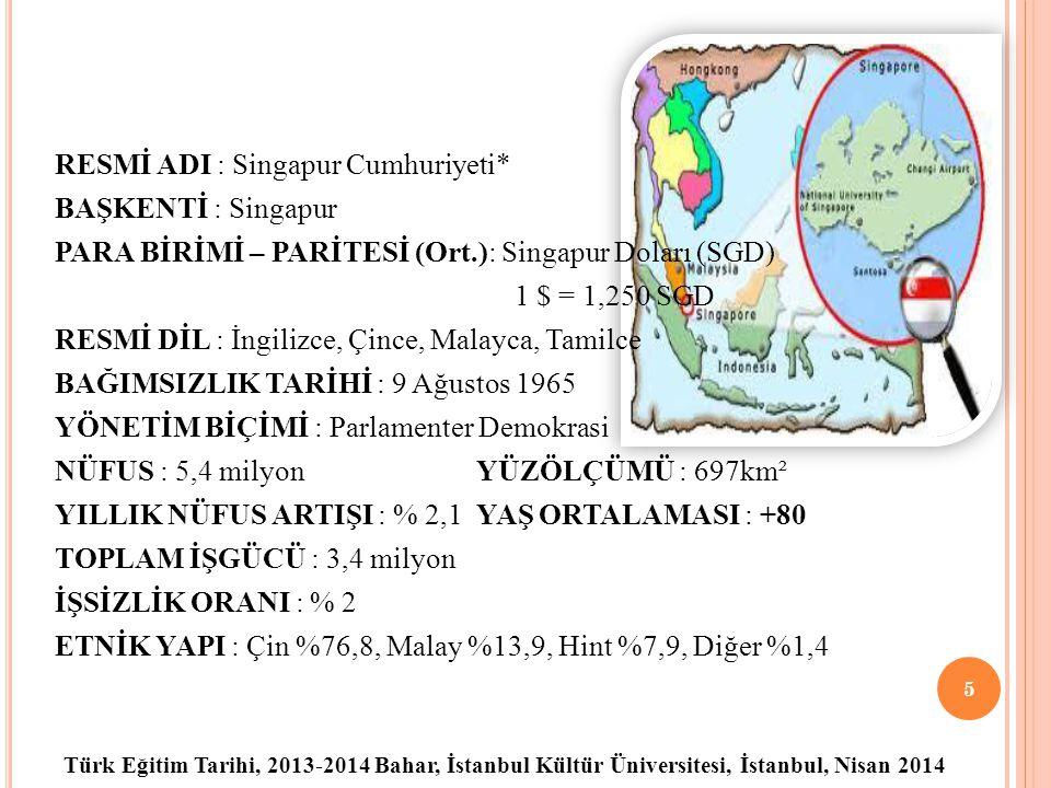 Türk Eğitim Tarihi, 2013-2014 Bahar, İstanbul Kültür Üniversitesi, İstanbul, Nisan 2014 RESMİ ADI : Singapur Cumhuriyeti* BAŞKENTİ : Singapur PARA BİRİMİ – PARİTESİ (Ort.): Singapur Doları (SGD) 1 $ = 1,250 SGD RESMİ DİL : İngilizce, Çince, Malayca, Tamilce BAĞIMSIZLIK TARİHİ : 9 Ağustos 1965 YÖNETİM BİÇİMİ : Parlamenter Demokrasi NÜFUS : 5,4 milyon YÜZÖLÇÜMÜ : 697km² YILLIK NÜFUS ARTIŞI : % 2,1 YAŞ ORTALAMASI : +80 TOPLAM İŞGÜCÜ : 3,4 milyon İŞSİZLİK ORANI : % 2 ETNİK YAPI : Çin %76,8, Malay %13,9, Hint %7,9, Diğer %1,4 5