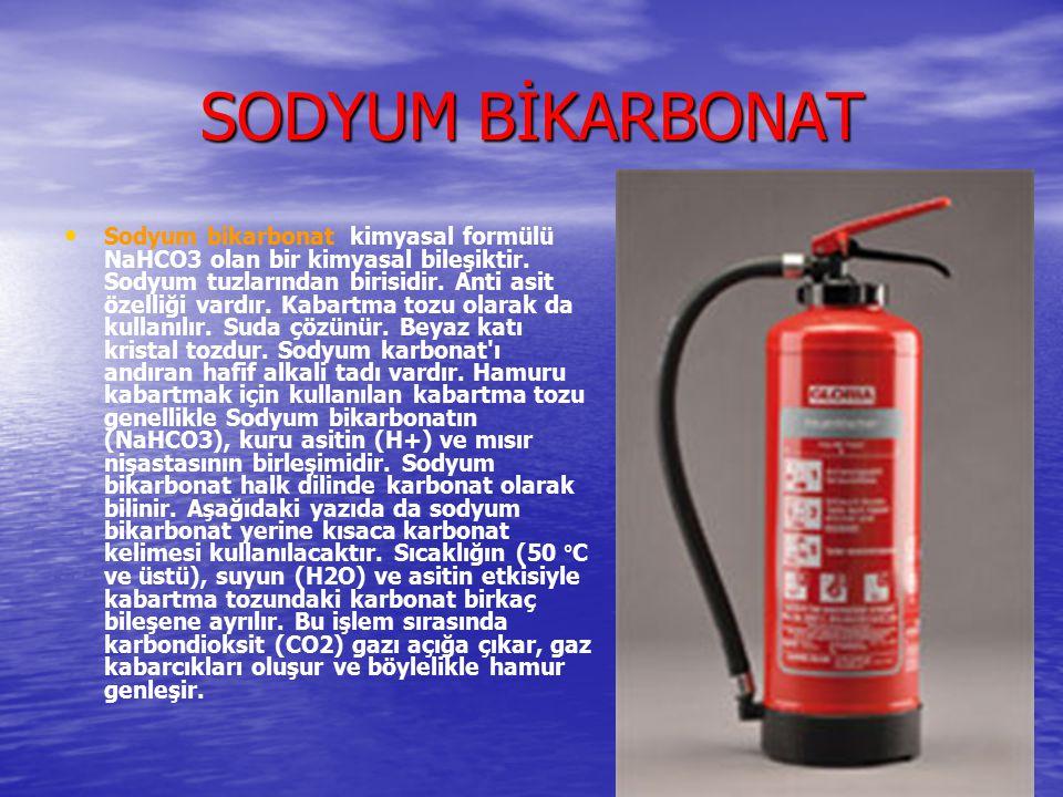 SODYUM BİKARBONAT Sodyum bikarbonat kimyasal formülü NaHCO3 olan bir kimyasal bileşiktir. Sodyum tuzlarından birisidir. Anti asit özelliği vardır. Kab