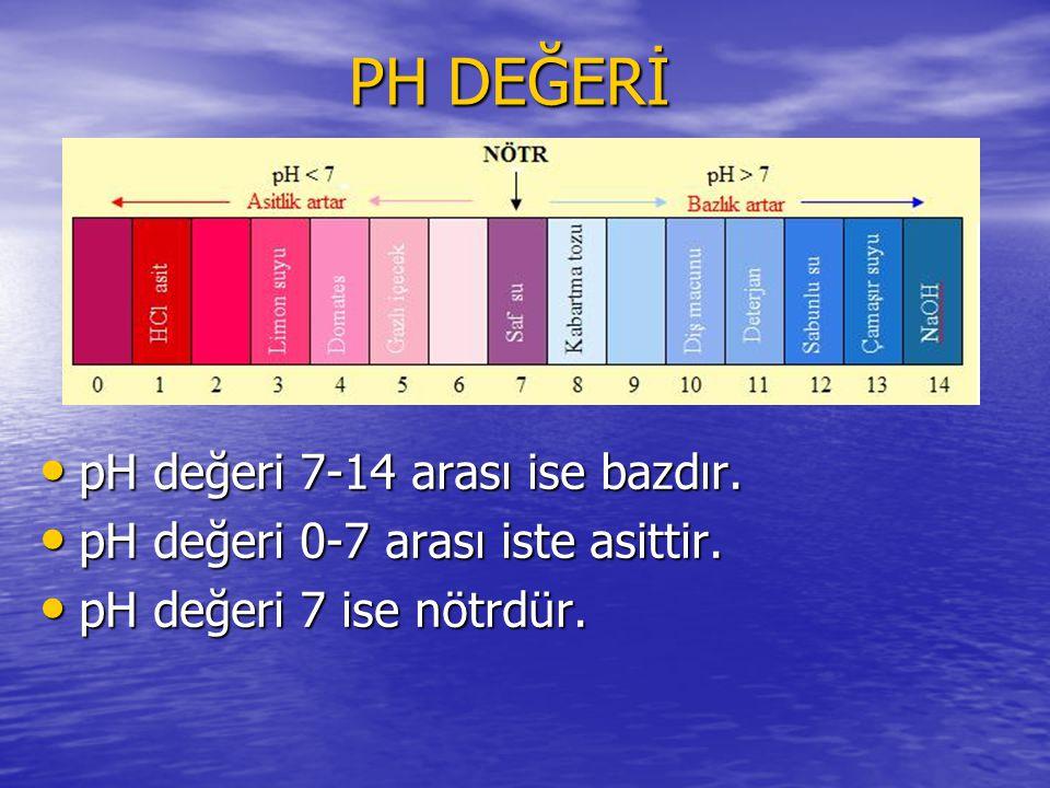 PH DEĞERİ pH değeri 7-14 arası ise bazdır. pH değeri 7-14 arası ise bazdır. pH değeri 0-7 arası iste asittir. pH değeri 0-7 arası iste asittir. pH değ