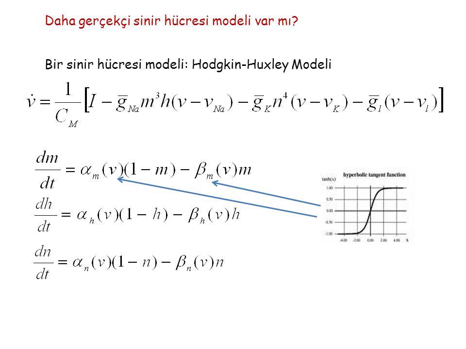 Daha gerçekçi sinir hücresi modeli var mı Bir sinir hücresi modeli: Hodgkin-Huxley Modeli