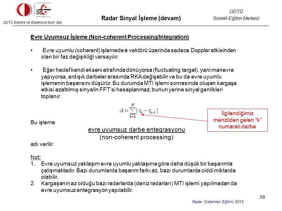 ODTÜ Elektrik ve Elektronik Müh. Böl. ODTÜ Sürekli Eğitim Merkezi Radar Sistemleri Eğitimi 2013 Evre Uyumsuz İşleme (Non-coherent Processing/Integrati