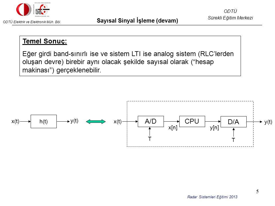 ODTÜ Elektrik ve Elektronik Müh. Böl. ODTÜ Sürekli Eğitim Merkezi Radar Sistemleri Eğitimi 2013 Sayısal Sinyal İşleme (devam) A/DCPU D/A x(t) T T y(t)