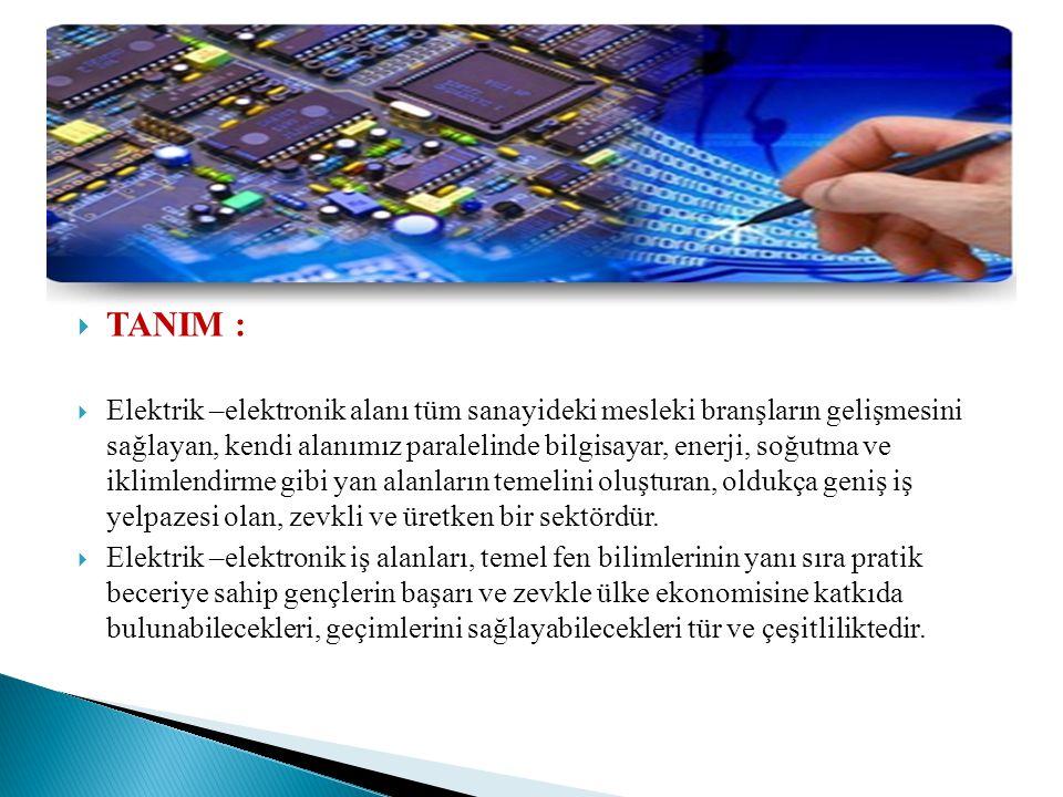  TANIM :  Elektrik –elektronik alanı tüm sanayideki mesleki branşların gelişmesini sağlayan, kendi alanımız paralelinde bilgisayar, enerji, soğutma