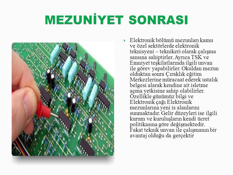  Elektronik bölümü mezunları kamu ve özel sektörlerde elektronik teknisyeni – teknikeri olarak çalışma sansına sahiptirler. Ayrıca TSK ve Emniyet teş