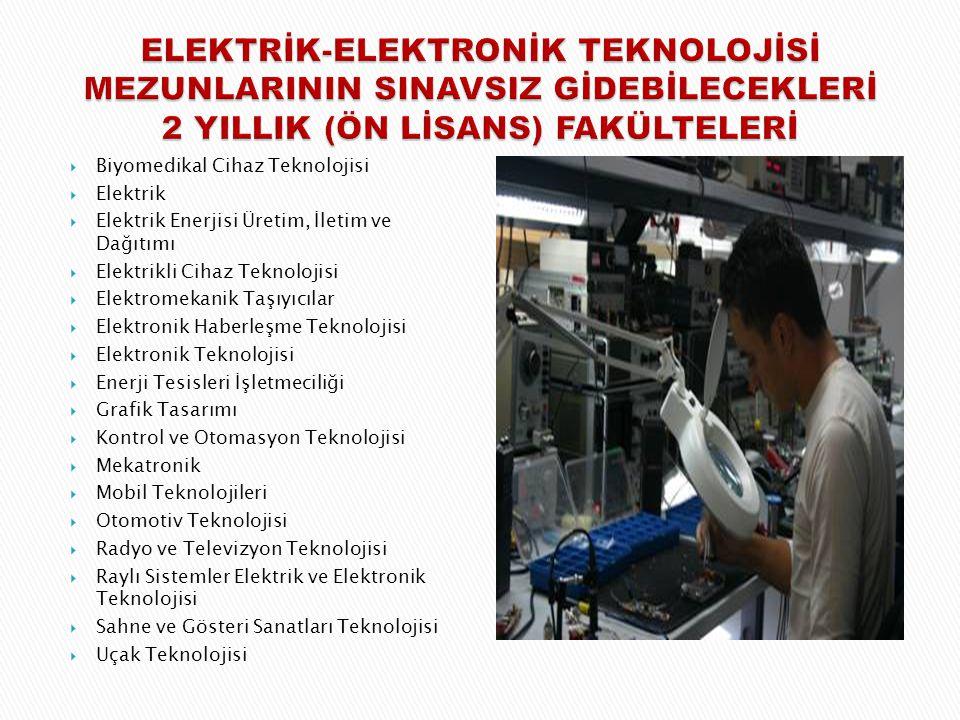  Biyomedikal Cihaz Teknolojisi  Elektrik  Elektrik Enerjisi Üretim, İletim ve Dağıtımı  Elektrikli Cihaz Teknolojisi  Elektromekanik Taşıyıcılar