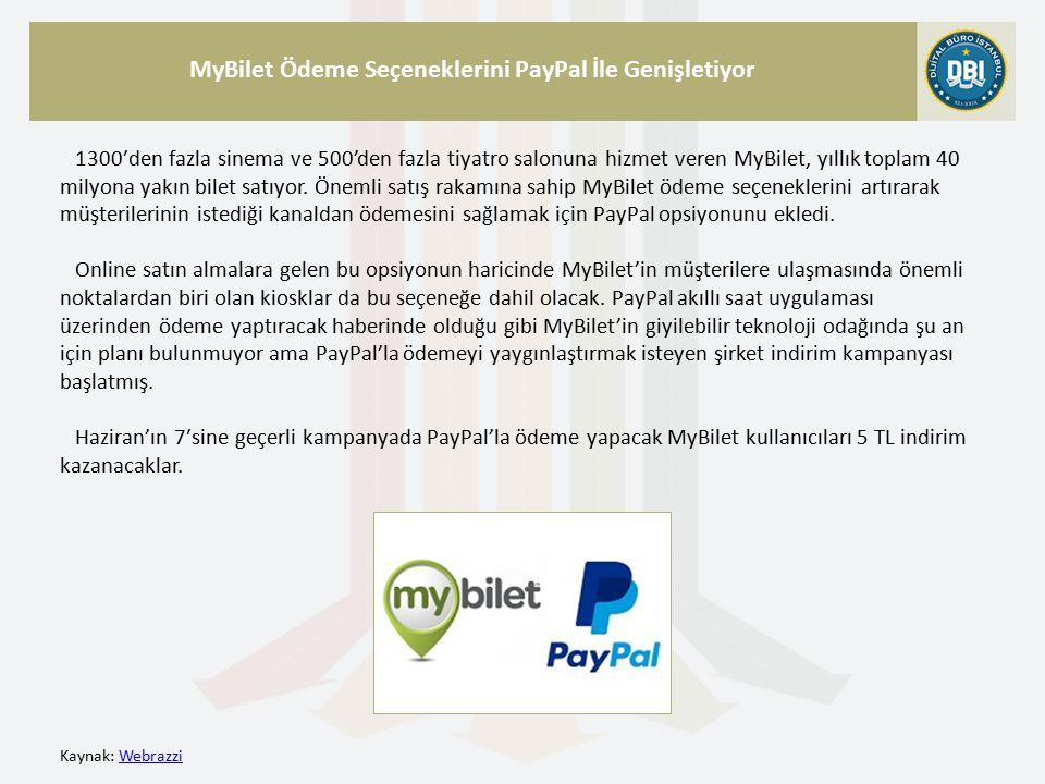 Kaynak: WebrazziWebrazzi MyBilet Ödeme Seçeneklerini PayPal İle Genişletiyor 1300′den fazla sinema ve 500'den fazla tiyatro salonuna hizmet veren MyBilet, yıllık toplam 40 milyona yakın bilet satıyor.