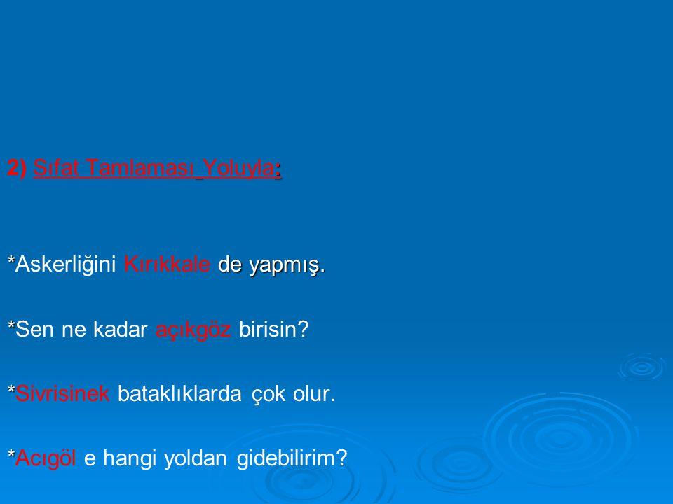 : 2) Sıfat Tamlaması Yoluyla: * de yapmış. *Askerliğini Kırıkkale de yapmış. * *Sen ne kadar açıkgöz birisin? * *Sivrisinek bataklıklarda çok olur. *