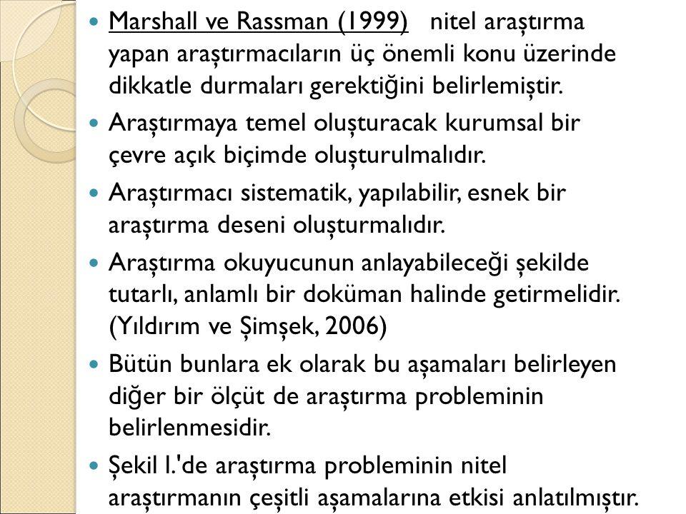 Marshall ve Rassman (1999) nitel araştırma yapan araştırmacıların üç önemli konu üzerinde dikkatle durmaları gerekti ğ ini belirlemiştir. Araştırmaya