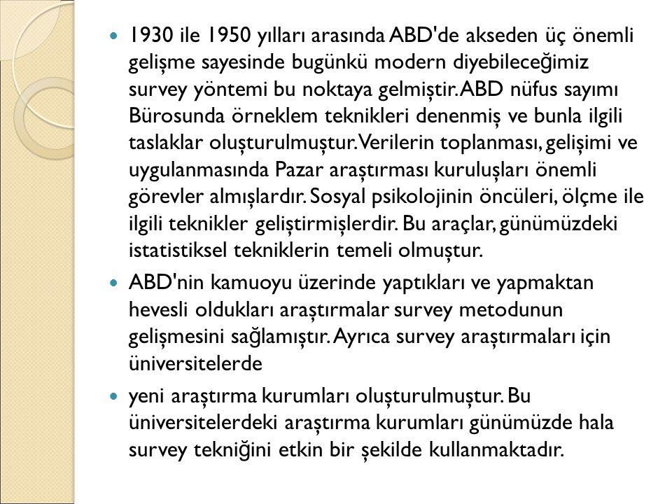 1930 ile 1950 yılları arasında ABD'de akseden üç önemli gelişme sayesinde bugünkü modern diyebilece ğ imiz survey yöntemi bu noktaya gelmiştir. ABD nü