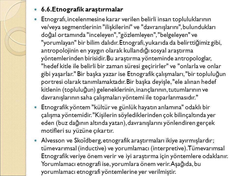 6.6.Etnografik araştırmalar Etnografı, incelenmesine karar verilen belirli insan topluluklarının ve/veya segmentlerinin