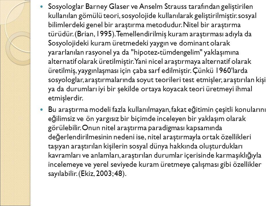 Sosyologlar Barney Glaser ve Anselm Strauss tarafından geliştirilen kullanılan gömülü teori, sosyolojide kullanılarak geliştirilmiştir. sosyal bilimle