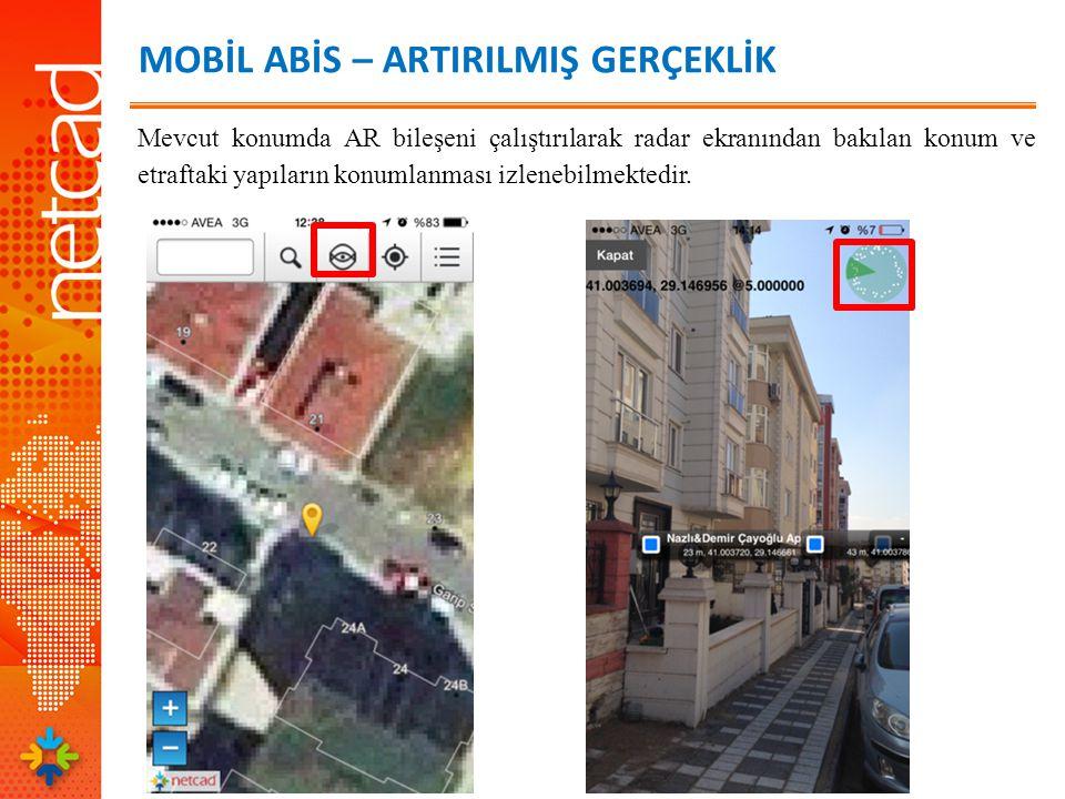 MOBİL ABİS – ARTIRILMIŞ GERÇEKLİK Bina üzerinde beliren etikette yapı adı, bulunulan konumdan uzaklığı ve koordinat bilgisi yer almaktadır.