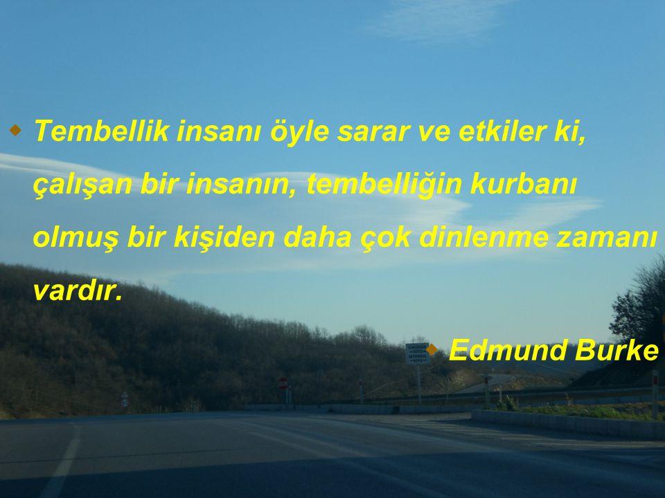  Tembellik insanı öyle sarar ve etkiler ki, çalışan bir insanın, tembelliğin kurbanı olmuş bir kişiden daha çok dinlenme zamanı vardır.  Edmund Burk