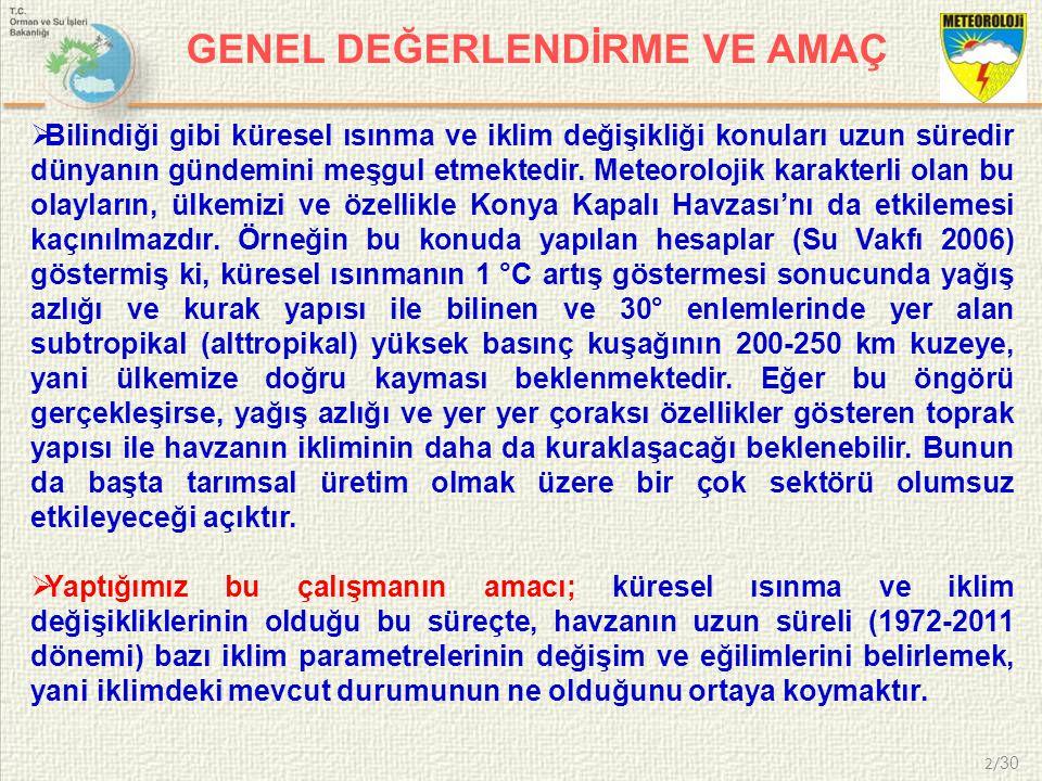 3/ 30  Çalışma alanımız Türkiye nin en büyük havzası olan Konya Kapalı Havzasıdır.