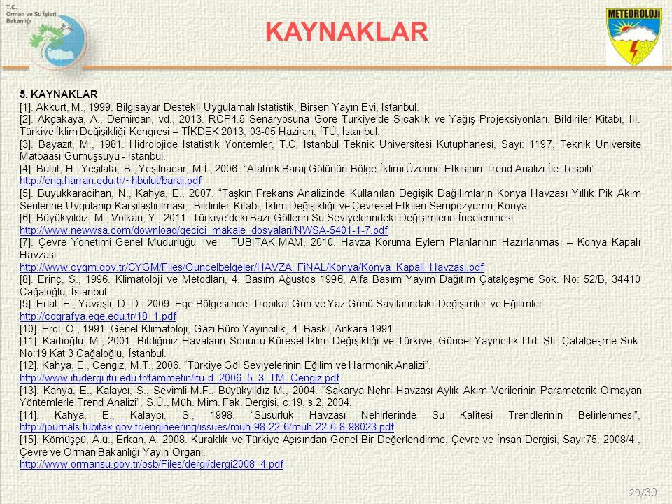 29/ 30 KAYNAKLAR 5. KAYNAKLAR [1]. Akkurt, M., 1999. Bilgisayar Destekli Uygulamalı İstatistik, Birsen Yayın Evi, İstanbul. [2]. Akçakaya, A., Demirca