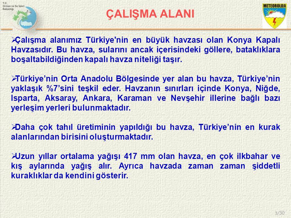 4/ 30 ÇALIŞMA ALANI Şekil1.Konya Kapalı Havzası'nın siyasi haritası.
