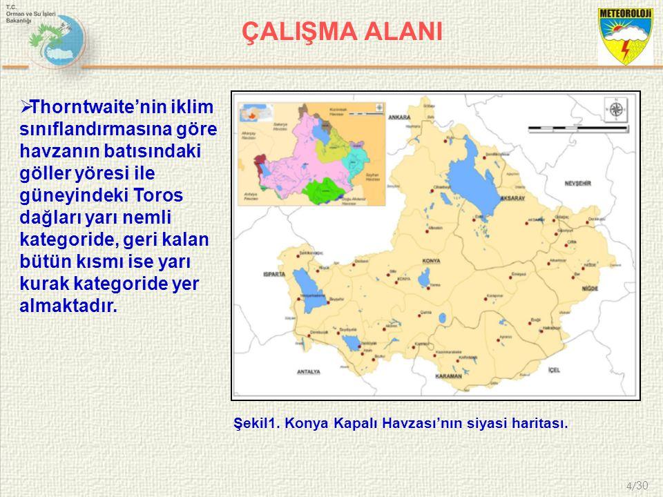 4/ 30 ÇALIŞMA ALANI Şekil1. Konya Kapalı Havzası'nın siyasi haritası.  Thorntwaite'nin iklim sınıflandırmasına göre havzanın batısındaki göller yöres