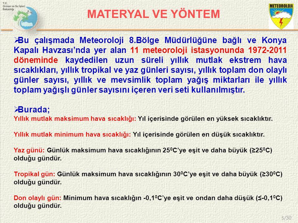 5/ 30 MATERYAL VE YÖNTEM  Bu çalışmada Meteoroloji 8.Bölge Müdürlüğüne bağlı ve Konya Kapalı Havzası'nda yer alan 11 meteoroloji istasyonunda 1972-20