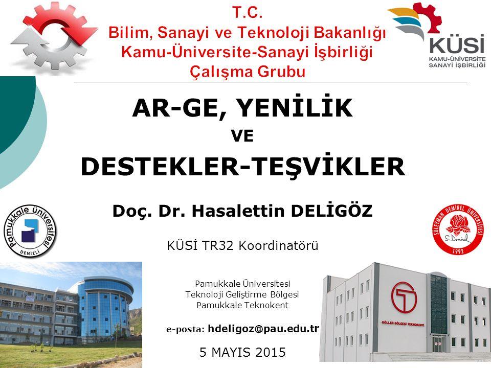 AR-GE, YENİLİK VE DESTEKLER-TEŞVİKLER Doç. Dr. Hasalettin DELİGÖZ KÜSİ TR32 Koordinatörü Pamukkale Üniversitesi Teknoloji Geliştirme Bölgesi Pamukkale