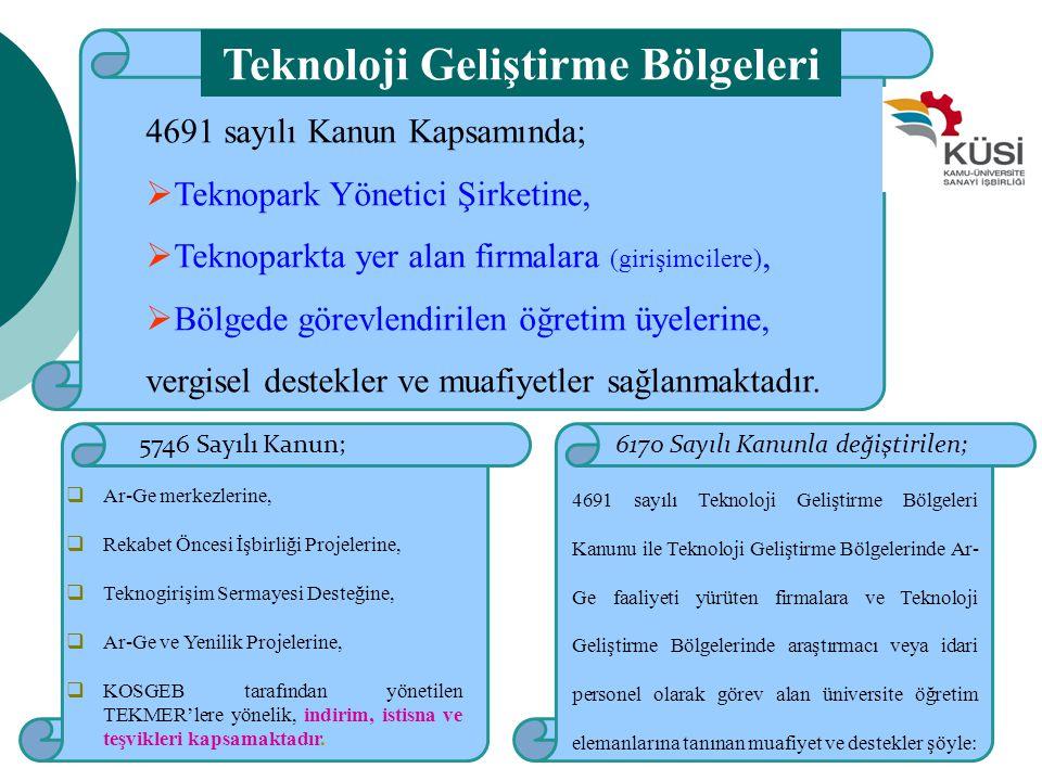 6170 Sayılı Kanunla değiştirilen; 4691 sayılı Teknoloji Geliştirme Bölgeleri Kanunu ile Teknoloji Geliştirme Bölgelerinde Ar- Ge faaliyeti yürüten fir