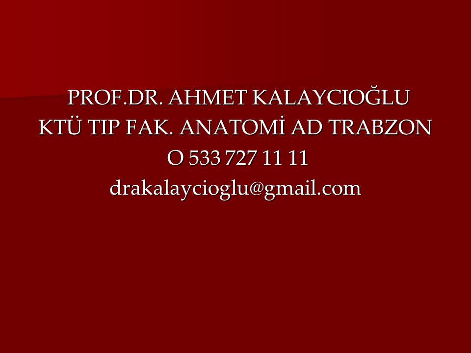 PROF.DR. AHMET KALAYCIOĞLU PROF.DR. AHMET KALAYCIOĞLU KTÜ TIP FAK. ANATOMİ AD TRABZON O 533 727 11 11 O 533 727 11 11drakalaycioglu@gmail.com