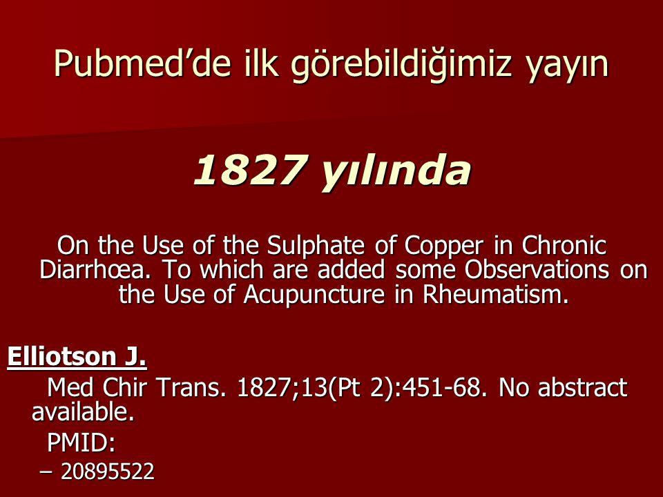 Aradan 47 yıl geçiyor ve ikinci yayın.Case of Dropsy: Treatment by Acupuncture.