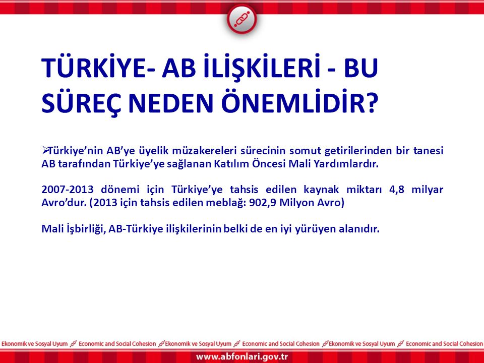 TÜRKİYE- AB İLİŞKİLERİ - BU SÜREÇ NEDEN ÖNEMLİDİR?  Türkiye'nin AB'ye üyelik müzakereleri sürecinin somut getirilerinden bir tanesi AB tarafından Tür