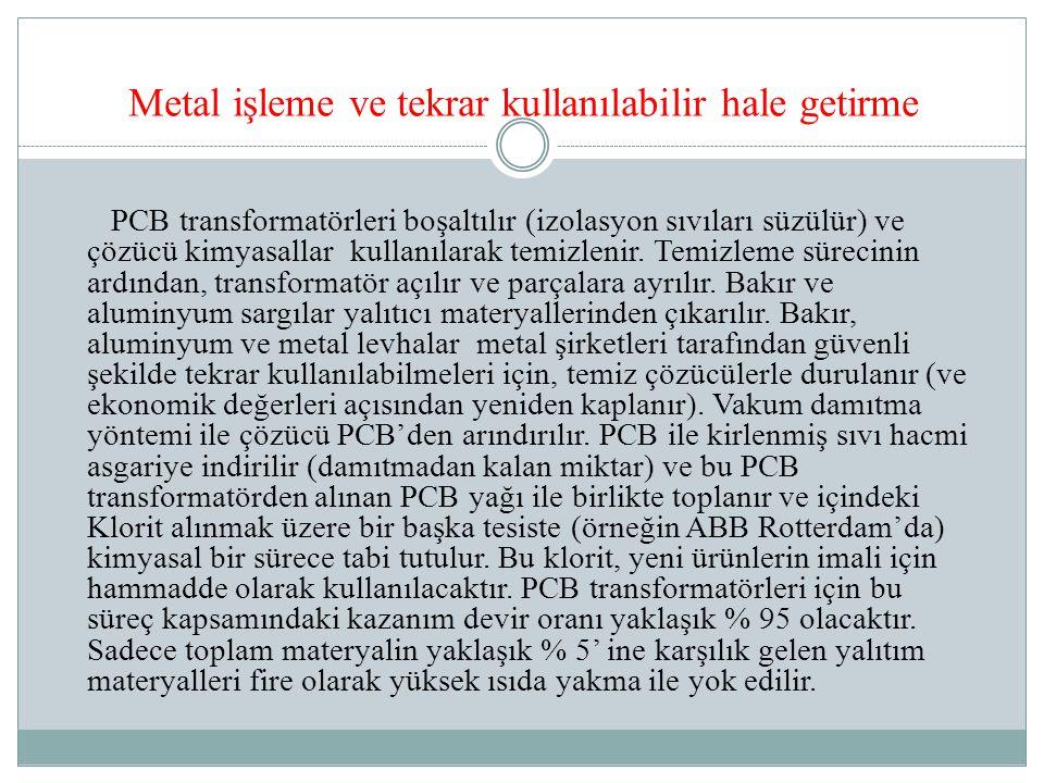 Metal işleme ve tekrar kullanılabilir hale getirme PCB transformatörleri boşaltılır (izolasyon sıvıları süzülür) ve çözücü kimyasallar kullanılarak temizlenir.