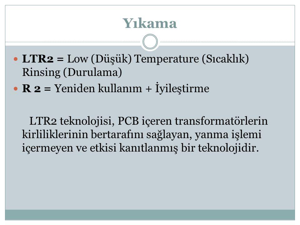 Yıkama LTR2 = Low (Düşük) Temperature (Sıcaklık) Rinsing (Durulama) R 2 = Yeniden kullanım + İyileştirme LTR2 teknolojisi, PCB içeren transformatörlerin kirliliklerinin bertarafını sağlayan, yanma işlemi içermeyen ve etkisi kanıtlanmış bir teknolojidir.