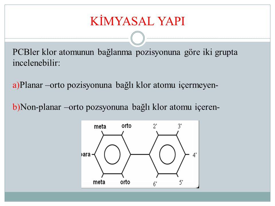 KİMYASAL YAPI PCBler klor atomunun bağlanma pozisyonuna göre iki grupta incelenebilir: a)Planar –orto pozisyonuna bağlı klor atomu içermeyen- b)Non-planar –orto pozsyonuna bağlı klor atomu içeren-