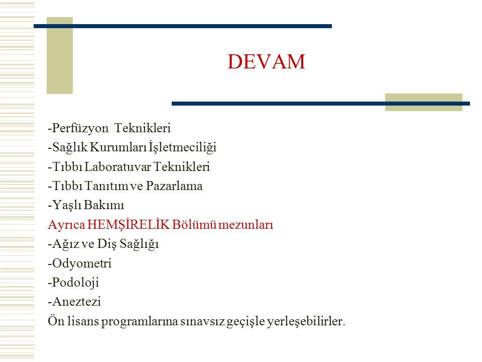 DEVAM -Perfüzyon Teknikleri -Sağlık Kurumları İşletmeciliği -Tıbbı Laboratuvar Teknikleri -Tıbbı Tanıtım ve Pazarlama -Yaşlı Bakımı Ayrıca HEMŞİRELİK