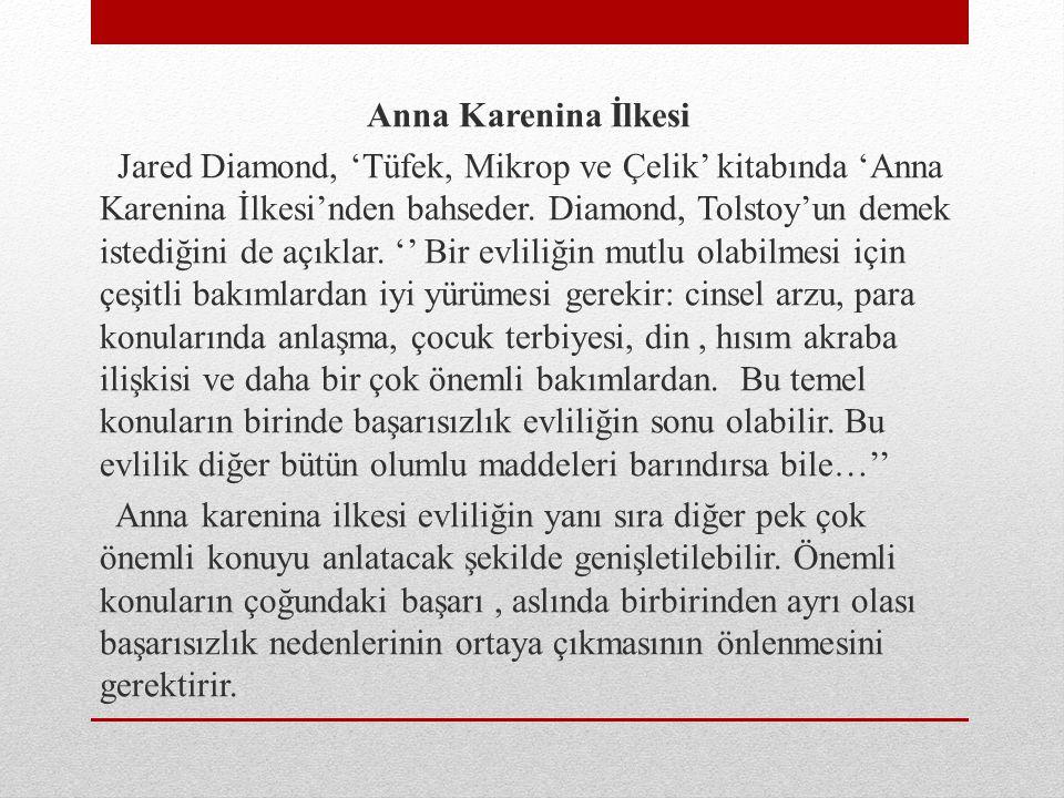 Anna Karenina İlkesi Jared Diamond, 'Tüfek, Mikrop ve Çelik' kitabında 'Anna Karenina İlkesi'nden bahseder. Diamond, Tolstoy'un demek istediğini de aç