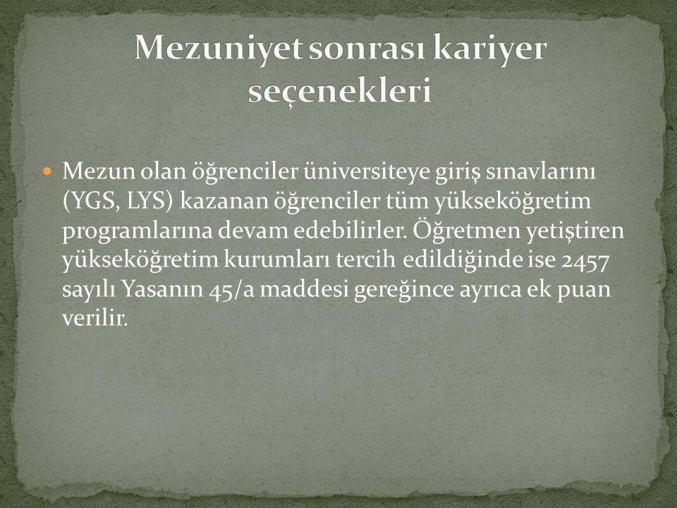 Mezun olan öğrenciler üniversiteye giriş sınavlarını (YGS, LYS) kazanan öğrenciler tüm yükseköğretim programlarına devam edebilirler. Öğretmen yetişti