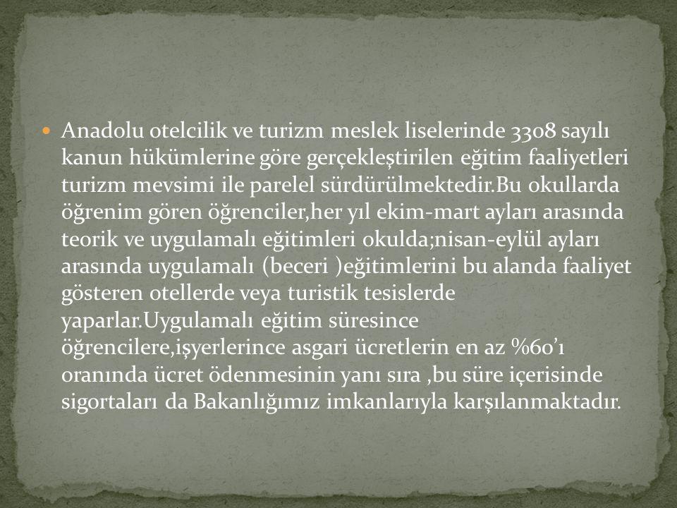 Anadolu otelcilik ve turizm meslek liselerinde 3308 sayılı kanun hükümlerine göre gerçekleştirilen eğitim faaliyetleri turizm mevsimi ile parelel sürd