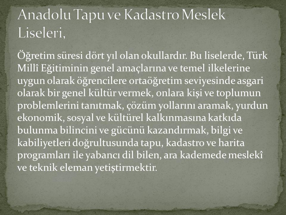 Öğretim süresi dört yıl olan okullardır. Bu liselerde, Türk Millî Eğitiminin genel amaçlarına ve temel ilkelerine uygun olarak öğrencilere ortaöğretim
