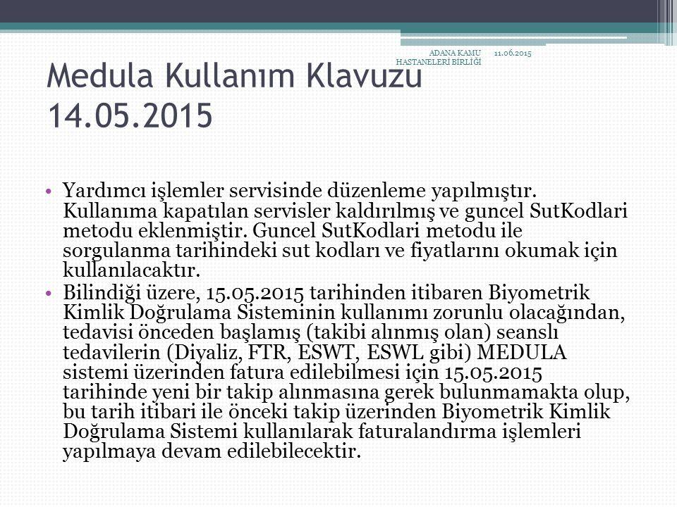 Medula Kullanım Klavuzu 14.05.2015 Yardımcı işlemler servisinde düzenleme yapılmıştır. Kullanıma kapatılan servisler kaldırılmış ve guncel SutKodlari