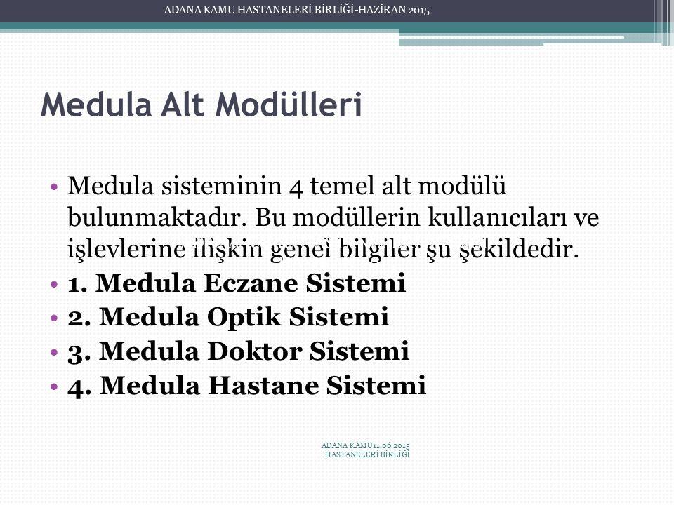 Medula Alt Modülleri Medula sisteminin 4 temel alt modülü bulunmaktadır. Bu modüllerin kullanıcıları ve işlevlerine ilişkin genel bilgiler şu şekilded